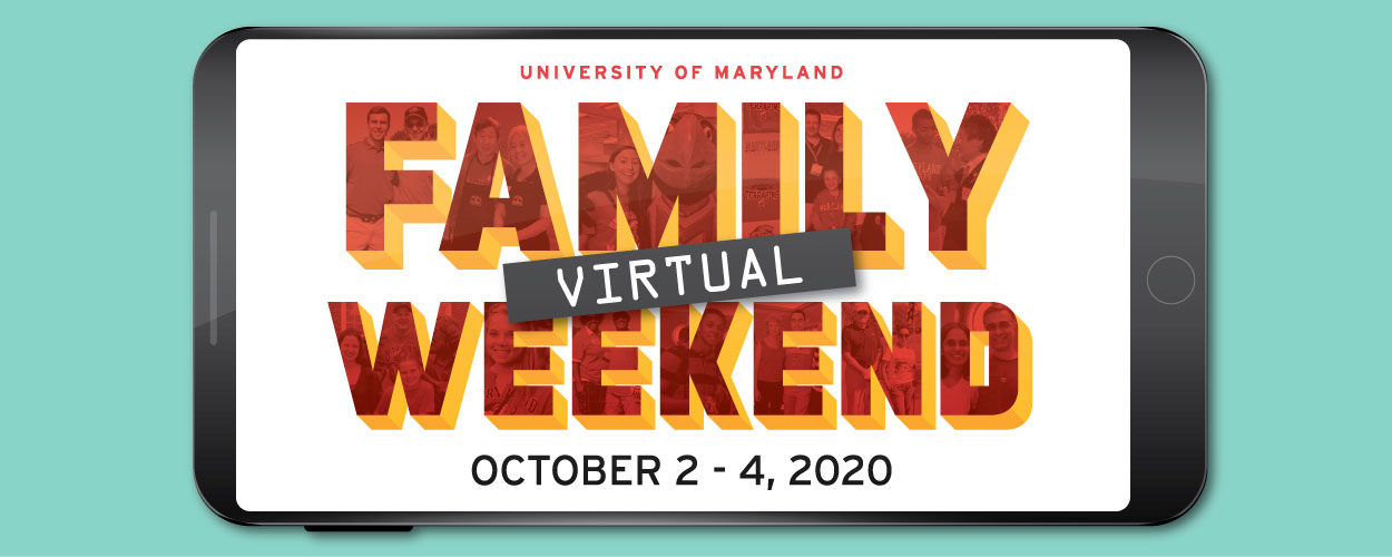 Virtual Family Weekend red and gold logo inside a black mobile device set on a turquoise background