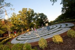 Photo of students walking through the labyrinth with the sun shining down