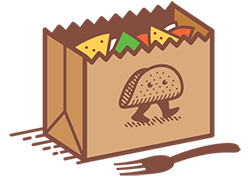 Brown bag filled with tortilla chips with an image of a taco walking on the side of the bag, and a fork sitting on the table in front of the bag